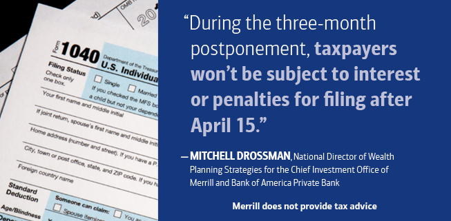 during the three month postponement, taxpayers won't be subject to interest or penalties for filing after april 15th